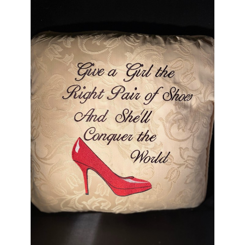Embroidered Marilyn Monroe cushion with quote