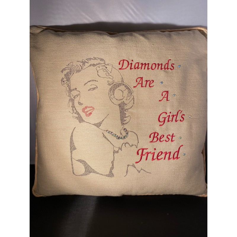 Embroidered Marilyn Monroe Cushion Quote